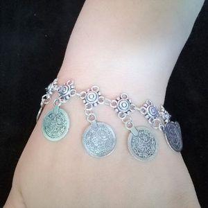 Boho loose coin bracelet